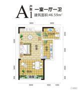 金手指白鹭湖1室1厅1卫46平方米户型图
