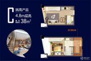 银城KinmaQ+社区1室1厅2卫38平方米户型图