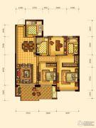 绿都御景蓝湾3室2厅2卫89平方米户型图