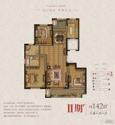 东润首府 高层3室2厅2卫142平方米户型图