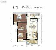 幸福湾3室2厅1卫95--96平方米户型图