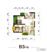 园城3室2厅1卫95平方米户型图