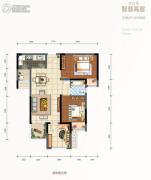 金科天元道2室2厅1卫69平方米户型图