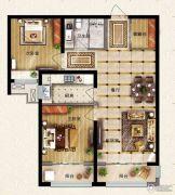 保利花园2室2厅1卫91平方米户型图