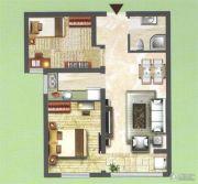中央名都2室2厅1卫78平方米户型图