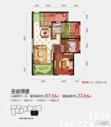 隆源国际城・YUE公园3室2厅1卫87--110平方米户型图