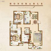 �锦世家3室2厅1卫115平方米户型图