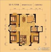 辽阳泛美华庭3室2厅2卫134平方米户型图