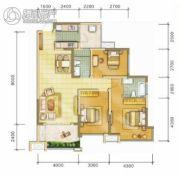 中海右岸3室2厅2卫102平方米户型图