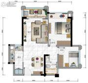 华发・又一城3期2室2厅1卫62平方米户型图