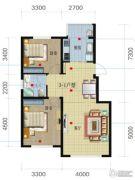 荟萃园2室2厅1卫86平方米户型图