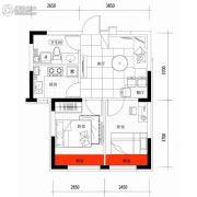 朗明居2室1厅1卫55平方米户型图