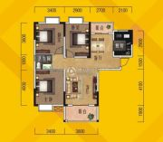 奥林花园3室2厅1卫105平方米户型图