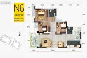 华府幸福城3室2厅2卫100平方米户型图