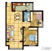 富虹・名院2室2厅1卫80平方米户型图