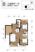 阳光100国际新城3室2厅1卫86平方米户型图