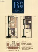 珠光御景壹号1室2厅1卫46平方米户型图