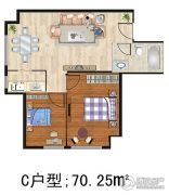熙城都会1室1厅1卫70平方米户型图