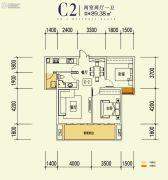 汉上第一街2室2厅1卫89平方米户型图