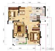 名流世家3室2厅1卫85平方米户型图