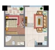 文化空间1室1厅1卫42平方米户型图
