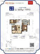 碧桂园润杨溪谷3室2厅2卫117平方米户型图