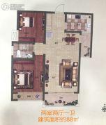 阳光福园2室2厅1卫88平方米户型图