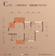 富辰・�箸缤�3室2厅2卫131--132平方米户型图