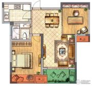 金新御园2室2厅1卫85平方米户型图