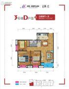 美联联邦生活区二期城仕3室2厅1卫109平方米户型图