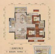 福达公馆3室2厅2卫108平方米户型图