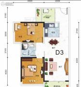 东盟华府2室2厅2卫80平方米户型图