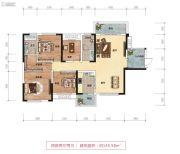 鑫远御文台二期4室2厅2卫145平方米户型图