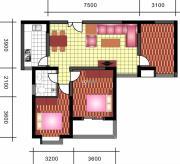 中天优诗美地3室2厅1卫109平方米户型图
