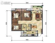 龙湖时代天街3室2厅1卫91平方米户型图