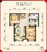 绿宸万华城2室2厅1卫82平方米户型图