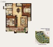冠城大通蓝湾2室2厅1卫85平方米户型图