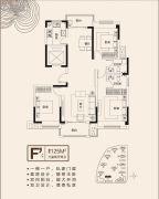 珍宝岛・熙悦府3室2厅2卫125平方米户型图