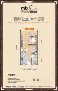 天润万象城1室1厅1卫38平方米户型图