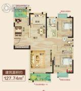 正通桂花苑3室2厅2卫127平方米户型图