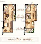 富闽时代广场1室1厅1卫53平方米户型图