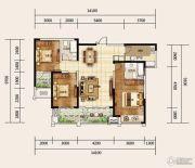 建业龙城3室2厅2卫129平方米户型图