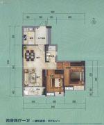 大夫山尚东2室2厅1卫79平方米户型图