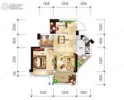 越亚天赐良园2室2厅1卫50平方米户型图