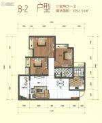 万城首座3室2厅1卫92平方米户型图
