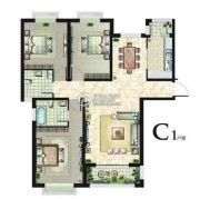 丽晶名邸3室2厅2卫132平方米户型图