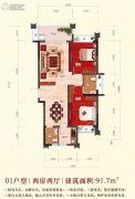 嘉泰华府2室2厅1卫91平方米户型图