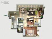 景业荔都2室2厅1卫87平方米户型图