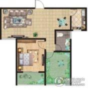 祥安东城国际花园1室2厅1卫83平方米户型图