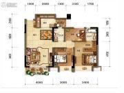 招商中央华城3室2厅2卫107平方米户型图